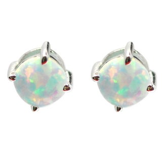 De Buman Sterling Silver Birthstone 5mm Round Gemstone Stud Earrings