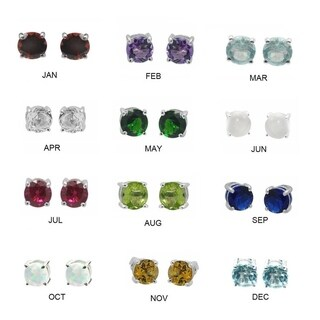 De Buman Sterling Silver Birthstone 5mm Round Gemstone Stud Earrings