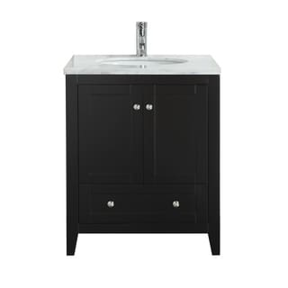 """Eviva Lime 30"""" Bathroom Vanity White with White Marble Carrera Top"""