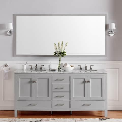 "Eviva Aberdeen 84"" Gray Transitional Double Sink Bathroom Vanity w/ White Carrara Top"