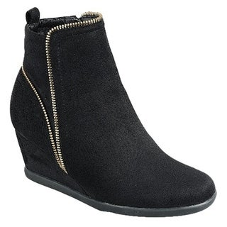 FOREVER FM05 Women's Side Zipper Wrapped Wedge Heel Ankle Booties