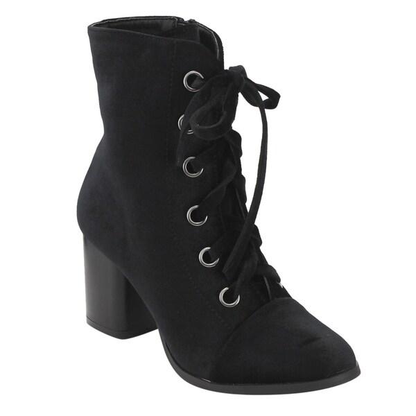 b18a52e8730c YOKI FL10 Women  x27 s Lace Up Side Zipper Chunky High Heel Ankle Bootie