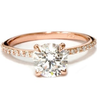 Bliss Diamond 14k Rose Gold 1 3/4 ct TDW Diamond Clarity Enhanced Engagement Ring With Accents - White