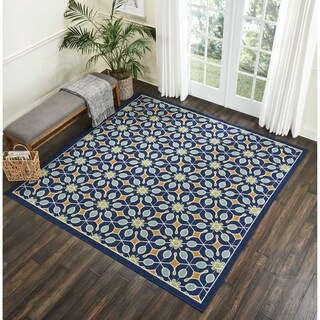 Nourison Caribbean Navy Indoor/Outdoor Square Area Rug (5'3 X Square)