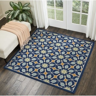Nourison Caribbean Navy Indoor/Outdoor Square Area Rug (7'10 X Square ) - 7'10 x 7'10