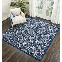 Nourison Caribbean Navy Indoor/Outdoor Square Area Rug (5'3 X Square) - 5'3 x 5'3