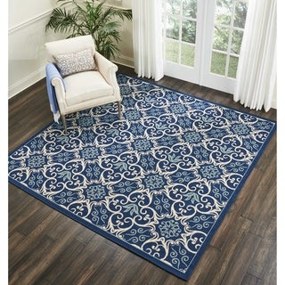 Nourison Caribbean Navy/Ivory Indoor/Outdoor Square Area Rug (7'10 X Square )