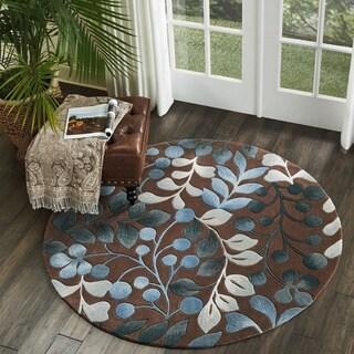 Nourison Hand-tufted Contours Botanical Mocha Round Rug - 5' x 5'
