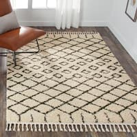 Nourison Moroccan Marrakesh Shag Cream/Charcoal Runner Rug (2'2 X8'1 )