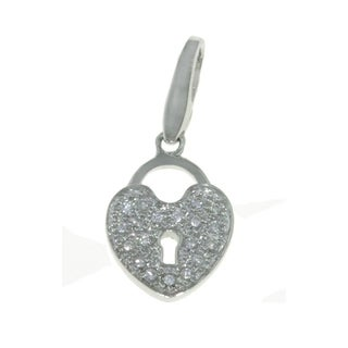 Isla Simone 925 Sterling Silver CZ Heart Locket Love Charm