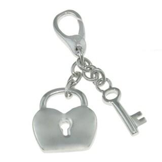 Isla Simone 925 Sterling Silver Key and Heart Locket Charm