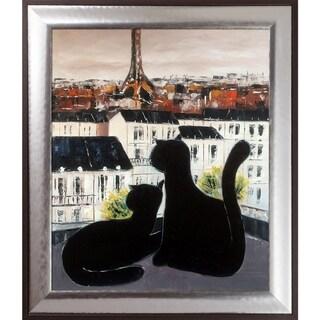 Atelier De Jiel 'Black Cat with His Pretty on Paris Roofs III' Hand Painted Oil Reproduction