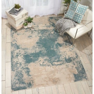 Nourison Maxell Ivory/Teal Distressed Area Rug (5'3 x 7'3)