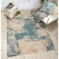 Nourison Maxell Ivory/Teal Distressed Area Rug - 5'3 x 7'3