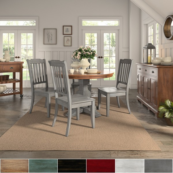 Eleanor Antique Grey Round Top Solid Wood Dining Set   Slat Back By INSPIRE  Q Classic