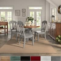 Eleanor Antique Grey Round Solid Wood Top Dining Set - Napoleon Back by iNSPIRE Q Classic