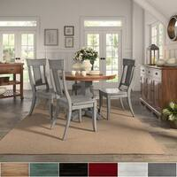 Eleanor Antique Grey Round Top Solid Wood Dining Set - Panel Back by iNSPIRE Q Classic