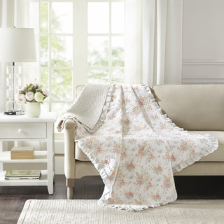 Madison Park Harmony Coral Oversized Cotton Quilted Throw