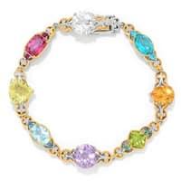 Michael Valitutti Palladium Silver Multi Gemstone Tennis Bracelet