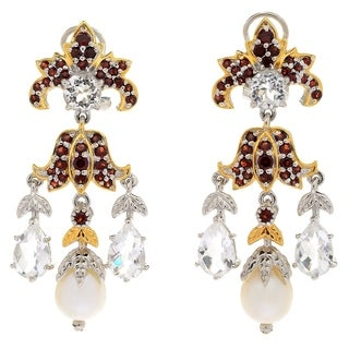 Michael Valitutti Palladium Silver Freshwater Cultured Pearl, White Quartz & Garnet Earrings