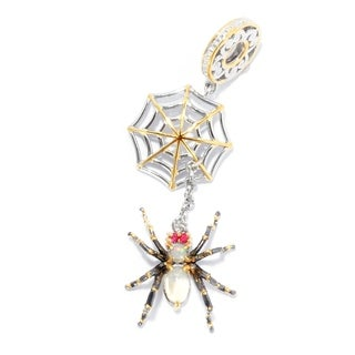 Michael Valitutti Palladium Silver Ethiopian Opal & Orange Sapphire Spider & Web Slide-on Charm