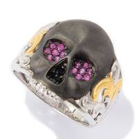 Michael Valitutti Palladium Silver Round Ruby & Black Spinel Satin Finished Skull Men's Ring