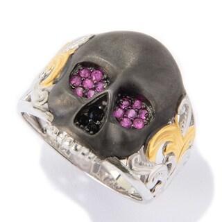 Michael Valitutti Palladium Silver Round Ruby & Black Spinel Satin Finished Skull Men's Ring