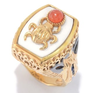 Michael Valitutti Palladium Silver Cleopatra White Agate & Multi Gemstone Scarab Beetle & Pharaoh Ring