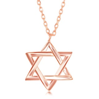 La Preciosa Sterling Silver /Rose Gold/ Gold Plated High Polish Star of David 16+2'' Necklace
