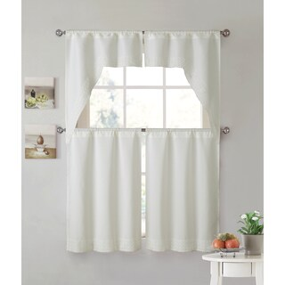 VCNY Home Noelle Lace 4-piece Kitchen Curtain Set (Option: ivory - Ivory)