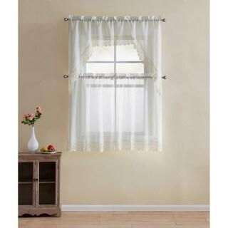 VCNY Home Galiana Lace 4-piece Kitchen Curtain Set (Option: Ivory - ivory)