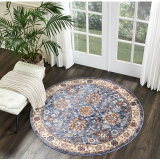 Nourison Reseda Traditional Blue Round Rug (5'XROUND)