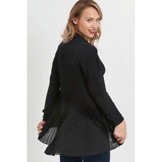 August Silk Long Sleeve Cardi w/Pleated Goergette color and Trim