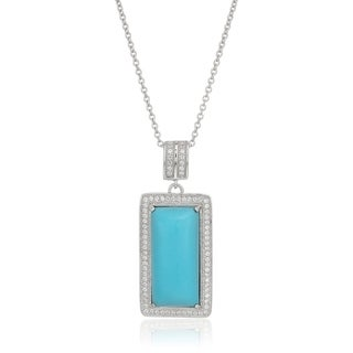 "Sterling Silver Natural Turquoise, Created White Sapphire Pendant Necklace, 18"" - Blue"