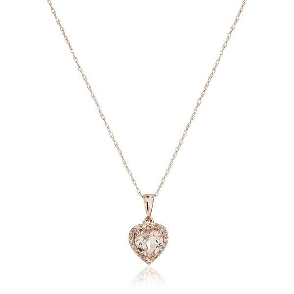 Shop 10k rose gold morganite heart diamond pendant necklace 18 10k rose gold morganite heart diamond pendant necklace 18 pink aloadofball Images