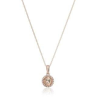 "Pinctore 10k Rose Gold Morganite Diamond Princess Di Pendant Necklace 18"" - Pink"