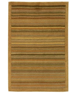 Safavieh Hand-knotted Tibetan Striped Apricot/ Sage Wool Rug (3' x 5')