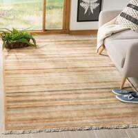Safavieh Hand-knotted Tibetan Striped Apricot/ Sage Wool Rug - 4' x 6'