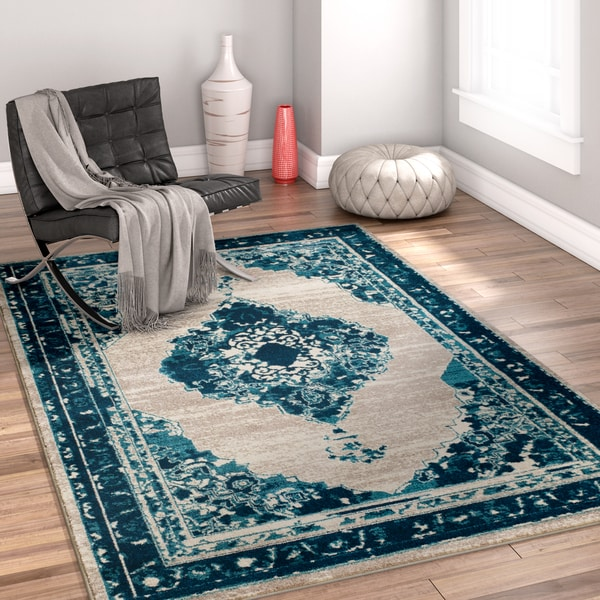 Well Woven Bohemian Modern Eclectic Blue Area Rug - 8' x 10'