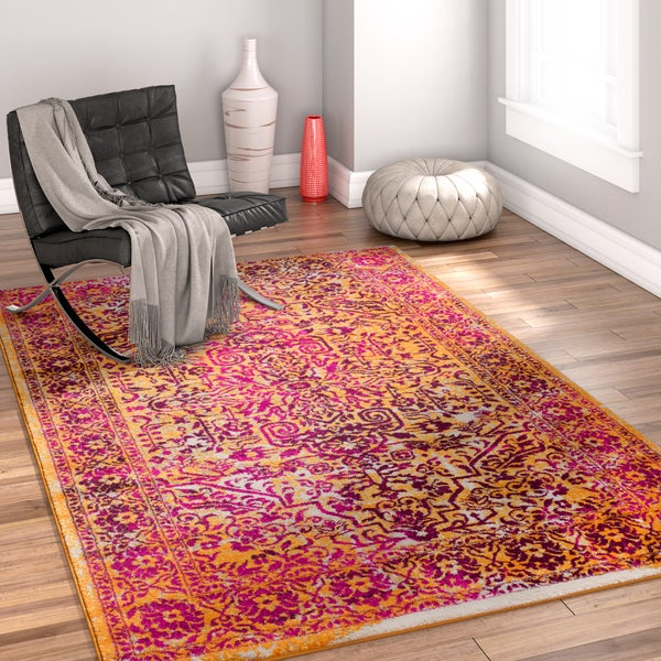 Well Woven Bohemian Vintage Lavender/Orange Area Rug - 7'10 x 9'10
