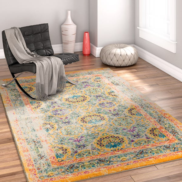 Well Woven Bohemian Traditional Ivory/Blue/Orange Area Rug - 7'10 x 9'10