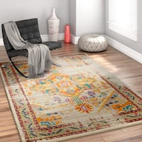 Well Woven Bohemian Vintage Tribal Farmhouse Multicolor/Gold/Off-white Area Rug - 7'10 x 9'10