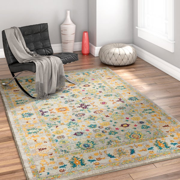 Well Woven Multicolored Bohemian Vintage Cottage Area Rug - 7'10 x 9'10