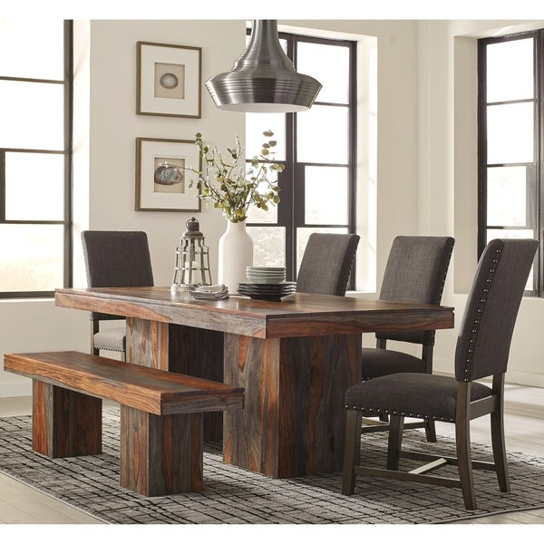 Modern Bold Design Dining Set With Grey Fabric Upholsterd Chairs