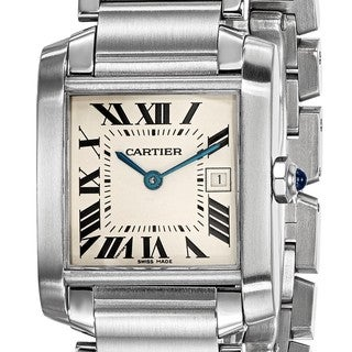 certified preowned cartier midsize tank francaise watch