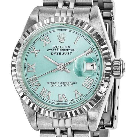 Quality Pre-ownd Rolex Steel/18 Karat White Gold Ladies Datejust Ice Blue Watch