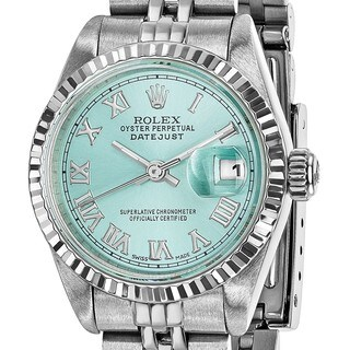 Certified Pre-ownd Rolex Steel/18 Karat White Gold Ladies Datejust Ice Blue Watch