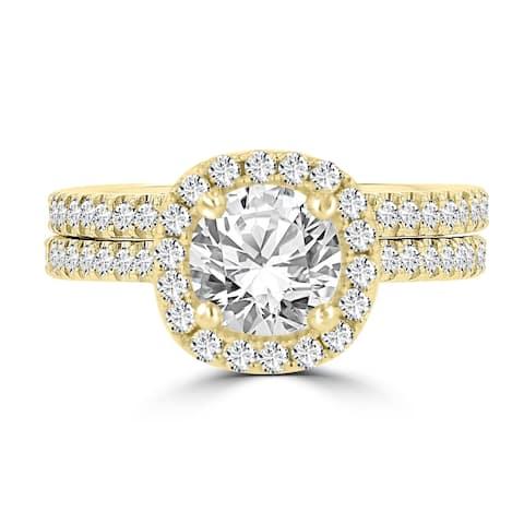 La Vita Vital 14K Yellow Gold Moissanite 1.00ct TGW & Diamond 0.75cts Bridal Set - White
