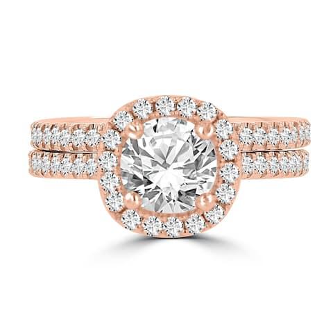 La Vita Vital 14K Rose Gold Moissanite 1.00ct TGW & Diamond 0.75cts Bridal Set - White