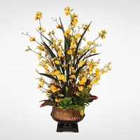 Yellow Silk Peach Blossom & Artificial Succulents in  a Gold Urn